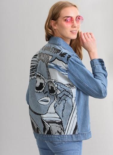 Agenda Sırt Baskı Detaylı Jean Ceket Mavi